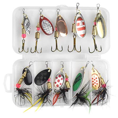 Chstarina 10 Piezas Señuelos de Pesca Spinners Cebos Kit Señuelos De Cucharilla de Pesca Cebos Artificiales Articulos de Pesca para Lucio Perca Trucha