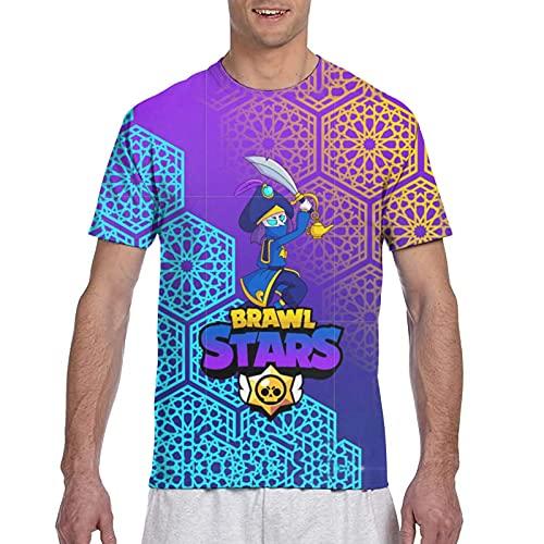 867 Qts-Hirt Br-A-Wl Funny Stars - Camiseta de manga corta con impresión completa en 3D para niños, Negro, L