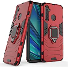 LuluMain Compatible with Oppo Realme 5 Pro, Realme Q Case, Metal Ring Grip Kickstand Shockproof Hard Bumper (Works with Magnetic Car Mount) Dual Layer Rugged Cover (Red)