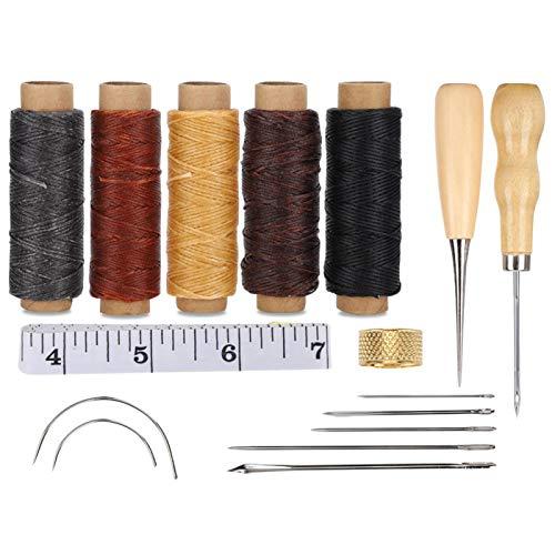 1 juego de cuero para coser a mano, herramienta artesanal de costura, cinta métrica dedal para juego de accesorios