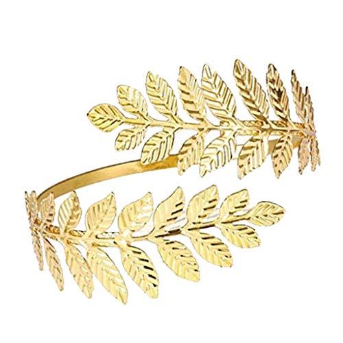 F Fityle Brazalete para Mujer Brazo Brazalete Brazalete Brazalete Brazalete-Rama de Hoja en Espiral - Dorado