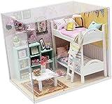 DIVISTAR Maison de poupée miniature avec meuble, kit de maison de poupée à construire pour enfants et adultes, échelle 1/24, décoration de chambre créative jouet cadeau (meilleurs amis)