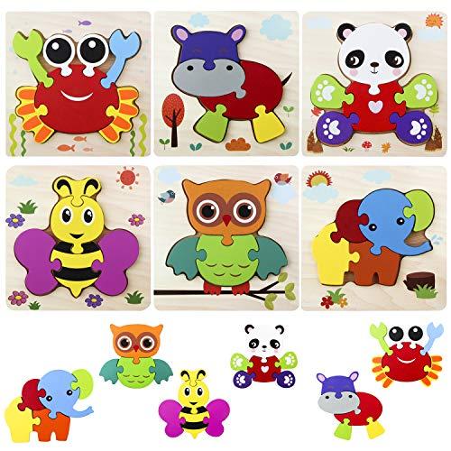 Goomp 6 Piezas Puzzles de Madera de Animales,Rompecabezas de Madera Juguetes Montessori Juguetes Bebes para Niños de 1 2 3 4 5 Años