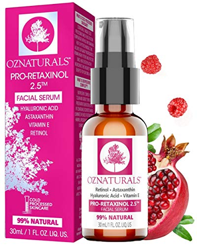 OZNaturals Anti Aging Retinol Serum - Collagen Boosting Face Serum and Dark Spot Remover for Face - Best Facial Serum with Hyaluronic Acid & Vitamin E