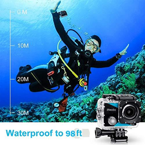 Piwoka Action Camera 1080P 12MP Waterproof Underwater 98ft Sports Camera 2