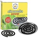 BricoLoco Incienso citronela Repelente antimosquitos en Espiral. 10 Unidades. Ambientador. Ahuyentar Mosquitos en Interior o Exterior. Protección Natural. Soporte metálico Incluido. (2)