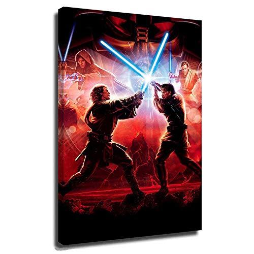 DRAGON VINES Star Wars Y-Oda Póster enmarcado en lienzo para dormitorio, oficina, Darth Vader David Prowse Eureka El ascenso de Skywalker El último Jedi El despertar de la fuerza 40,6 x 60,9 cm