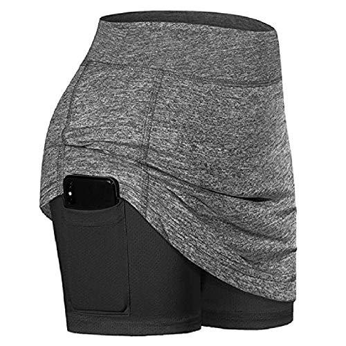 Dames Yo-ga Inner Korte Elastische Sport Golf Zakken Skorts Leggings voor - grijs - XL
