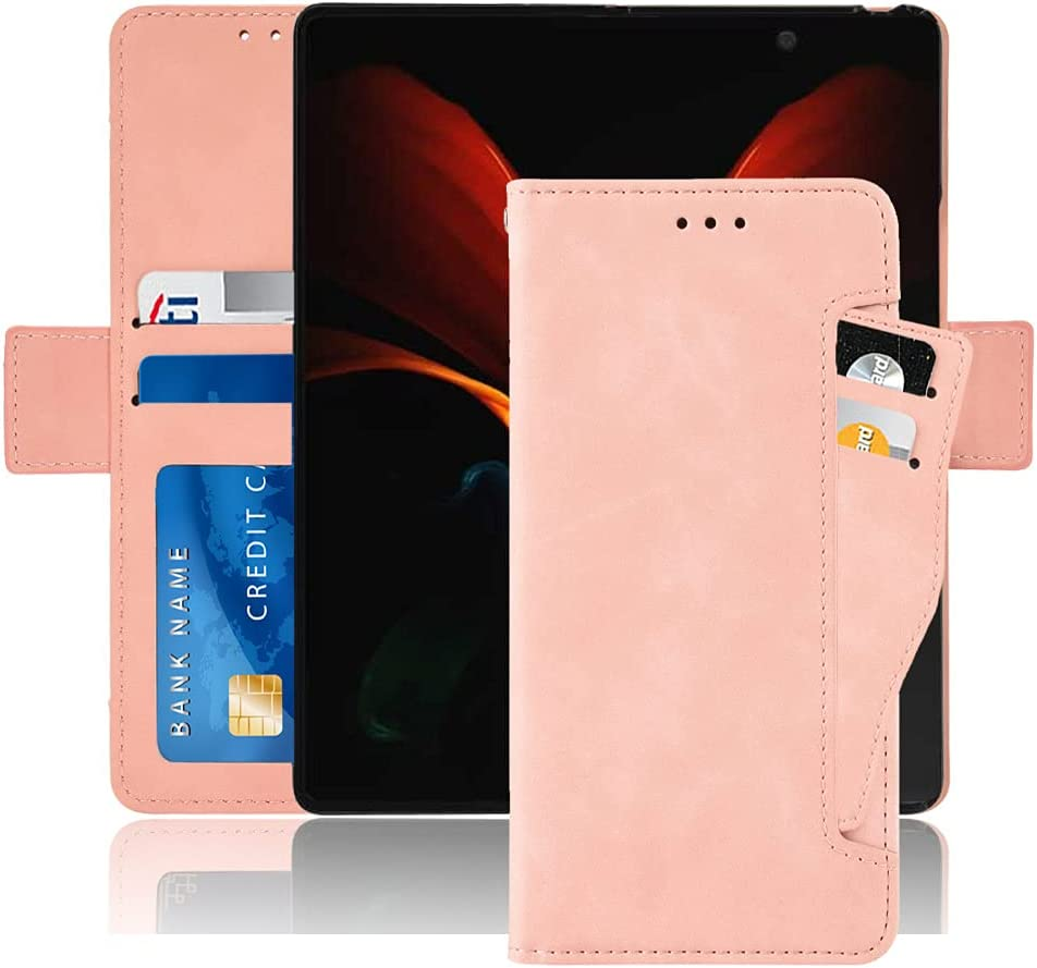 Hackers' Galaxy Z Fold 2 5G Case, Galaxy Z Fold 2 Wallet case, Classic Leather Wallet Foldable Case with Credit Card Holder Slots Flip Wallet Case for Samsung Galaxy ZFold2 5G - (Pink)