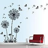 decalmile Stickers Muraux Pissenlit et Papillon Autocollant Mural Chambre Salon...