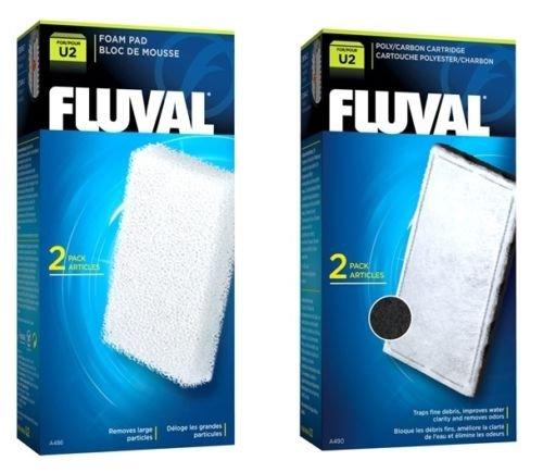 Fluval Aquariumfilter-Einsätze, U2, für Aquarium, Aktivkohle und Schaumstoff, 2 Stück