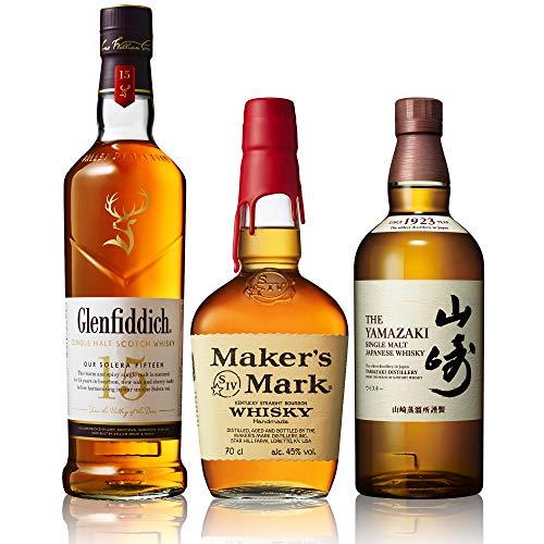 【ジャパニーズ、スコッチ、バーボンウイスキー飲み比べセット】山崎、グレンフィディック15年、メーカーズマーク [ ウイスキー 日本 700ml×3本 ]