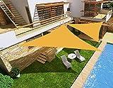 HENG FENG Toldo Vela de Sombra Impermeable Triangular 3 x 3 x 3 m Protección Rayos UV PES Repelente del Agua Resistente a la Intemperie para Patio Exteriores Jardín Color Arena