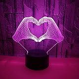 BFMBCHDJ Liebe Geste 3D Nachtlicht 3D Licht Touch-Schalter 3D Visual Stereo Led Licht USB Powered 3D Licht A4 Weiß Riss Basis + Fernbedienung