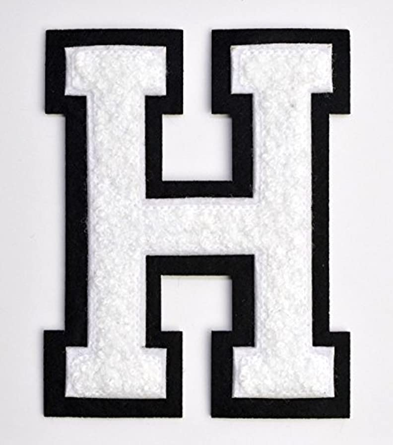 Varsity Letter Patches - White Embroidered Chenille Letterman Patch - 4 1/2 inch Iron-On Letter Initials (White, Letter H Patch) kky715640593