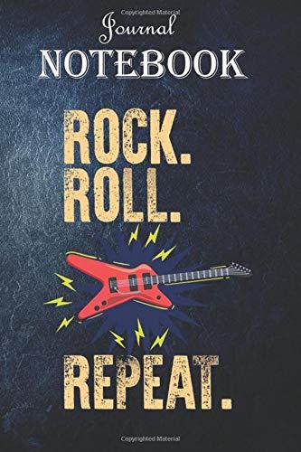 Notebook Journal: Retro 80s Vintage Punk Music Rock Roll Repeat Novelty Shirt:...