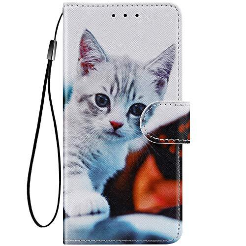 Felfy Kompatibel mit LG K40 Hülle Bunte Painted Muster Schutzhülle,Handyhülle für LG K40 Magnet Flip Hülle PU Lederhülle Tasche mit Kartenfach/Standfunktion - Stumpfe Katze