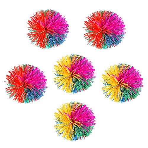 Toyvian 6cm Silicone Stringy Ball Bouncing Fluffy Jugging Ball Sensory Fidgets Stress Relief Toy 6cm (Random Color)