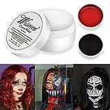 Wismee Black White Red Cream Face Body Paint Clown Joker Zombie Vampire Skeleton Halloween Costume Fantasy Makeup Fancy Dress Up Cosmetics Set Oil Painting Art (White Red Black)
