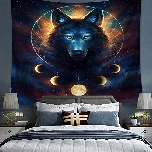 Blue Universe Galaxy Tapestry, Magic Wolf in Moon Galaxy Starry Sky Space Tapestry Wall Hanging Tapestry for Bedroom Living Room Dorm (15, 59Wx51L)
