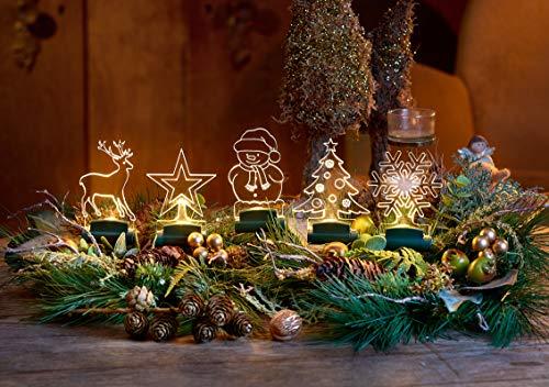 5er Pack LED Acryl-Figuren, warm-weiß beleuchtet zum dekorieren von Fenster, Adventskranz und Weihnachtsbaum | Bedienung per Fernbedienung