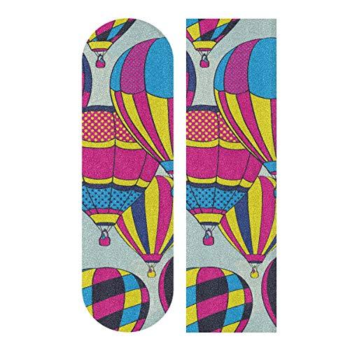JEOLVP 33.1x9.1inch Sport Outdoor Skateboard Aufkleber Fliegende Heißluftballons In Sky Print Wasserdichtes Longboard Sandpapier für Tanzbrett Double Rocker Board Deck 1 Blatt