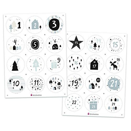 DeinBonbon Adventskalender cijfers - stickervel met 24 ronde stickers, 4,5 cm