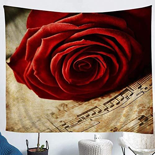 Tapiz Pared Floral Rosa Roja,Música Flores Románticas Cintas Para Colgar En Pared Retro,Tapistreys Tela Poliéster Para Coración Hogar Dormitorio -51'X59'