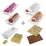 Silikomart 25.008.99.0082 Set Moule + 4 Tapis en Silicone BUCHES, Blanc, Or & Marron