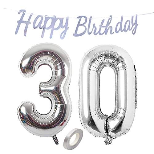 Jrzyhi Globos con números para 30 cumpleaños, plateados, globos gigantes con número 30, número 30, número XXL, número 30, globos para cumpleaños, bodas, fiestas, decoración, 32 pulgadas