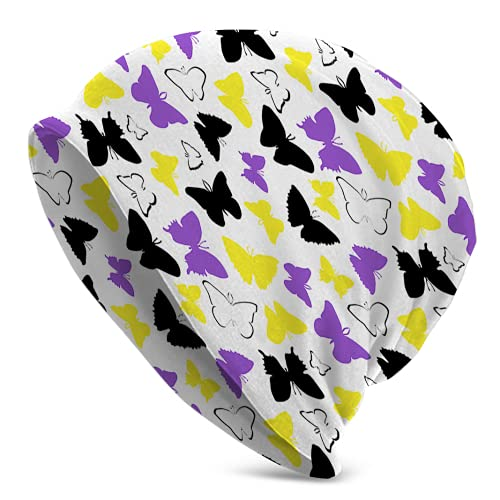 Fodmua No binario orgullo mariposas cráneo Cap invierno Beanie Hat para hombres mujeres