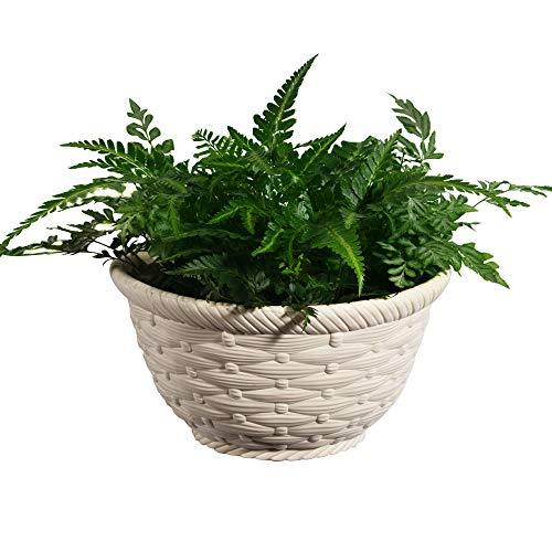 Sungmor Pot de fleurs à suspendre de haute qualité, solide et durable, en plastique épaissi, pot de fleurs créatif pour stockage de l'eau, intérieur ou extérieur, style décoratif en rotin Petit beige