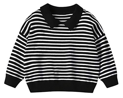 DEMU gebreide trui voor kinderen, gebreid jack voor jongens met lange mouwen sweater trui polo kraag 90 zwart