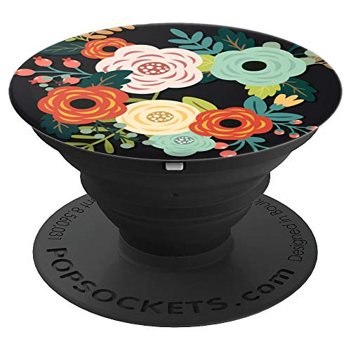 Black Flowering Reseda Green PopSockets Grip and Stand for Phones and Tablets