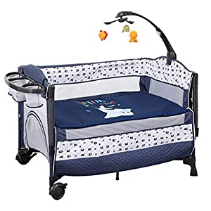 Rocking Chair Portable Baby Basket Infant Travel Bed Sleeper Newborn Multi-Function Appease Shaker Baby Nursery Game Bed Suitfor 0-36 Months Bed (Color : Blue)