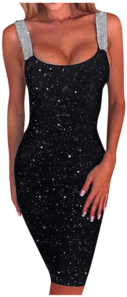 Kangma Women's Elegant Sequins Straps Glitter Shimmer Backless Stretchy Sheath Dress Party Club Cocktail
