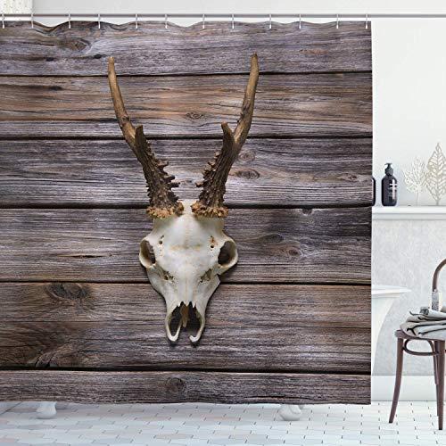 BeeTheOnly 72x72inch Duschvorhang, rustikales Geweih auf Holzwand Winterzeit Berghütte Landhausstil Rustikales Design, Badezimmerdekor mit Haken, Braunbeige