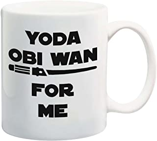 Funny 11oz Coffee or Tea Mugs - YODA OBI WAN For Me by Eitly (White) -Great Sarcasm Gift for Men, Women, Mom or Dad, Sister, Brother, Boss, Teacher
