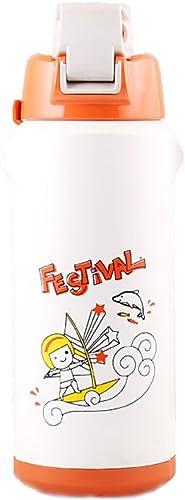 POY Bouteille d'eau, Dessin animé extérieur portatif de Preuve de Fuite d'enfants de Tasse de Vide avec la Tasse de Sports de Grande capacité d'acier Inoxydable Blanc,Bouteille