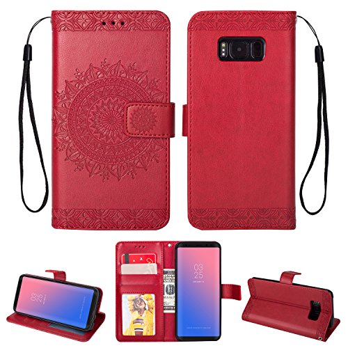 FOLICE Galaxy S8 Plus Case, Mandala Flower Pattern [Shock Absorbent] PU Leather Kickstand Wallet Cover Durable Flip Case for Samsung Galaxy S8 Plus (RED)