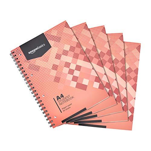 Amazon Basics - Quaderno con rilegatura a spirale, 160 pagine / 80 fogli, formato A4, 90 g/m², (confezione da 5)