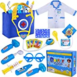 GINMIC Kids Doctor Play Kit, Pretend Play Doctor Set with Roleplay Doctor Costume and Medi...