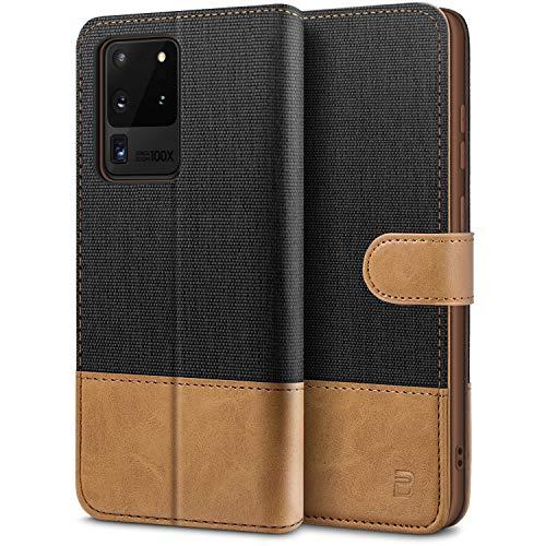 BEZ Handyhülle für Samsung Galaxy S20 Ultra Hülle, Tasche Kompatibel für Samsung Galaxy S20 Ultra 5G, Schutzhüllen aus Klappetui mit Kreditkartenhaltern, Ständer, Magnetverschluss, Schwarz