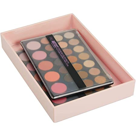 mDesign boite maquillage – rangement maquillage empilable pour la salle de bain ou la coiffeuse – coffret maquillage pour rouge à lèvres, correcteur, etc. – rose clair