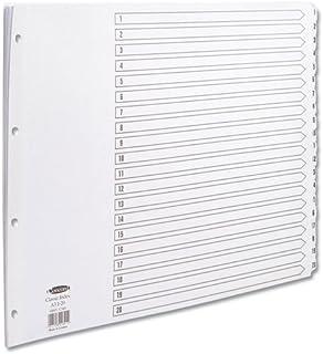 Concord Réf 04801/CS48 Intercalaires perforés 4 trous Touches 1-20 renforcées Mylar Blanc Format A3