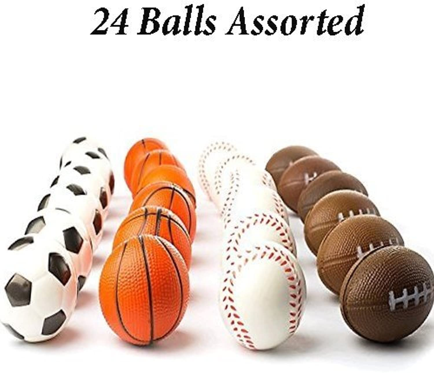 (Multicolord (24 pack)) - Adgoldx (24 Balls Assorted) Mini Sports Balls Stress Relief Squeeze