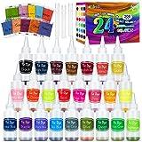 lenbest 208 PCS Tie Dye Kit, 24 Colores Tie Dye DIY Kit, 100 Ml Tinta Teñido Anudado para Teñir Telas, Kit de Pintura Textil de Ropa de Moda DIY, Arte Creativa y Artesanía para Adulto y Niño