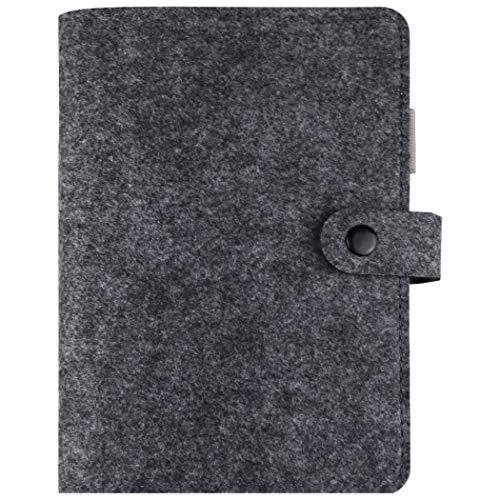 A6 Planer Binder Personal Organizer, 6-Ringe Lose Leaf Binder Tagebuch, nachfüllbar 6 runde Ringbuchdeckel für A6 Füllpapier, herausnehmbares Notizbuch Spiralbuch mit Druckknopf dunkelgrau