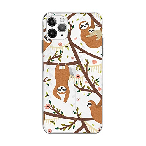 iPhone 12 Pro Max (6.7 inch) Case,Blingy's Fun Sloth Style Transparent Clear Soft TPU Protective Case Compatible for iPhone 12 Pro Max 6.7' 2020 Release (Sloths in Trees)