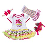 H.eternal Kid Baby Girls Outfits Set,Huevos de Pascua Estampado Tutu Mameluco Diadema Calentadores de Piernas Zapatos 4PCS Recién Nacido